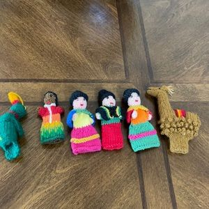 # 1091 Set of six hand knitted figurines.